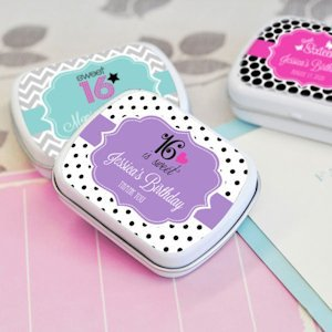 Sweet Sixteen (or 15) Personalized Tin Favors image