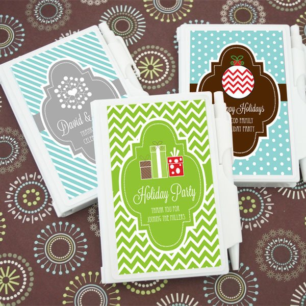 Christmas Wedding Favors: Winter Holiday Personalized Notebook Favors