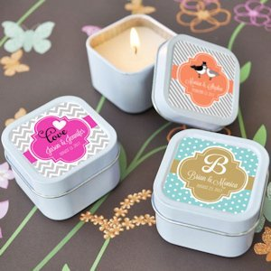 Personalized Tin Candles for Wedding Favors image