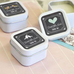 Chalkboard Wedding Personalized Square Candle Tins image