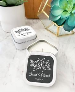 Floral Silhouette Square Candle Tins image