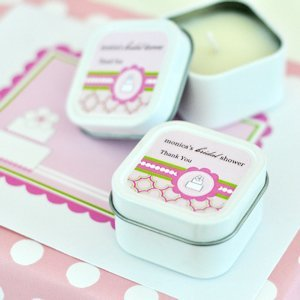 Personalized Square Bridal Shower Candles - Pink Cake image