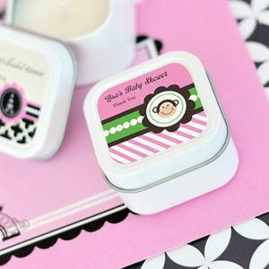 Pink Monkey Party Personalized Square Candle Tins image