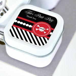 Pirate Party Personalized Square Candle Tins image