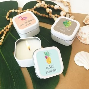 Personalized Tropical Beach Square Candle Tins image