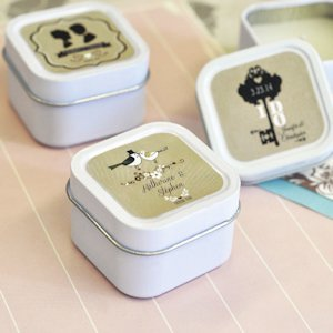 Vintage Wedding Personalized Square Candle Tins image