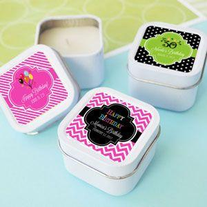 Personalized Birthday Square Candle Tins image