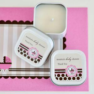 Personalized Square Candle Tins - Pink Baby image
