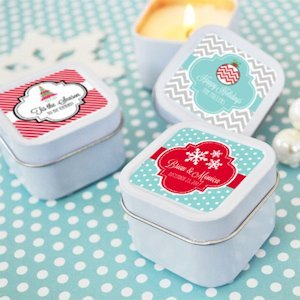 Winter Holiday Personalized Square Candle Tins image