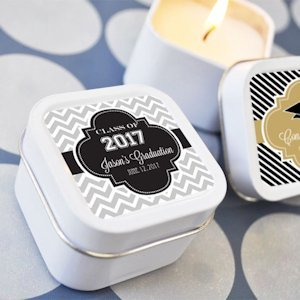 Personalized Graduation Square Candle Tins image