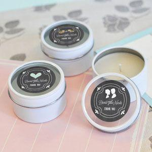 Chalkboard Wedding Personalized Round Candle Tins image