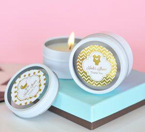 Personalized Metallic Foil Round Candle Tins - Baby image