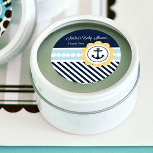 Nautical Baby Shower Personalized Round Candle Tins image
