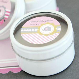 Pink Elephant Personalized Round Candle Tins image