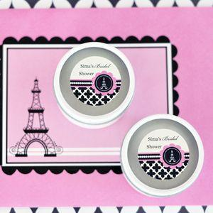 Personalized Round Candle Tins - Parisian Party image