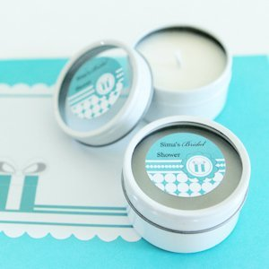 Customized Something Blue Candle Favors for Bridal Showers image