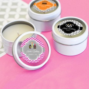 Birthday Designs Personalized Round Candle Tins image