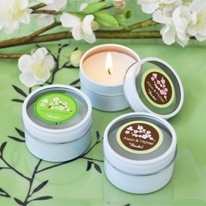 Personalized Round Cherry Blossom Candle Favors image