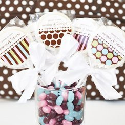 Dots & Stripes Personalized Lollipop Wedding Edible Favors image