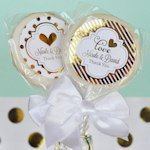Personalized Metallic Foil Wedding Lollipop Favors