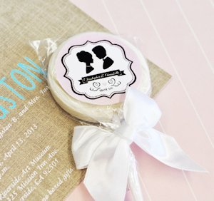 Vintage Wedding Personalized Lollipop Favors image