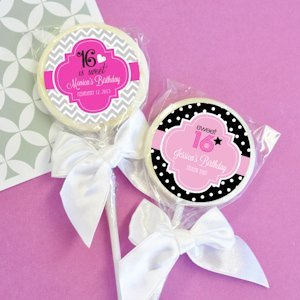 Personalized Lollipop Sweet 16 Favors (Many Designs) image
