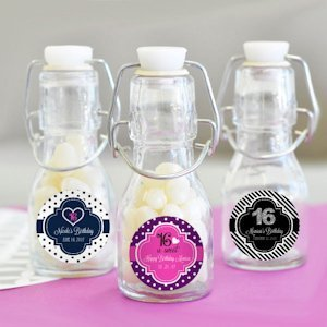 Sweet 16 (or 15) Personalized Mini Glass Bottle Favors image