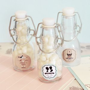 Vintage Wedding Personalized Mini Glass Bottles image