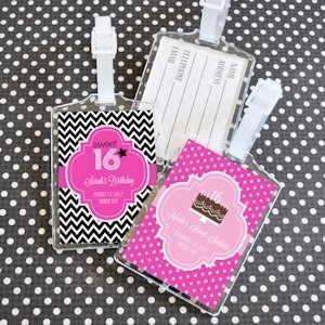 Sweet Sixteen (or 15) Personalized Luggage Tag Favors image
