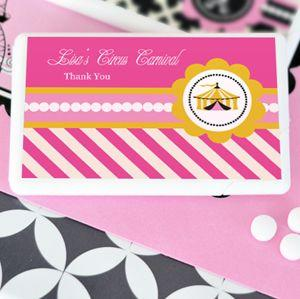 Pink Circus Party Personalized Mini Mint Favors image