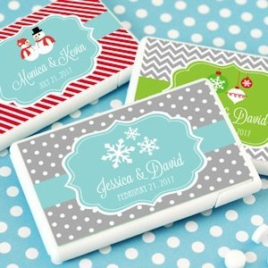 Personalized Winter or Christmas Mini Mint Wedding Favors image