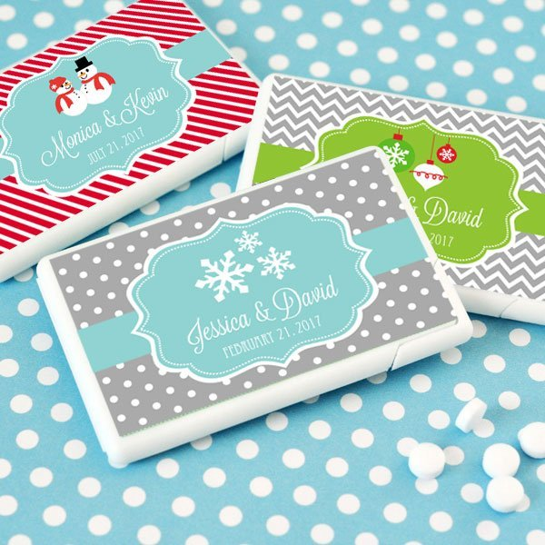 Christmas Wedding Favors: Personalized Winter Or Christmas Mini Mint Wedding Favors