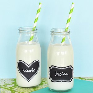 Milk Bottle Wedding Favors with Vinyl Chalkboard Labels image