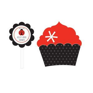 Ladybug Cupcake Wrappers & Cupcake Toppers (Set of 24) image