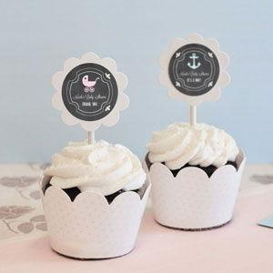 Chalkboard Baby Shower Cupcake Wrappers & Cupcake Toppers (S image