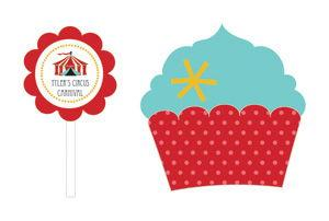 Circus Carnival Party Cupcake Wrappers & Cupcake Toppers (Se image