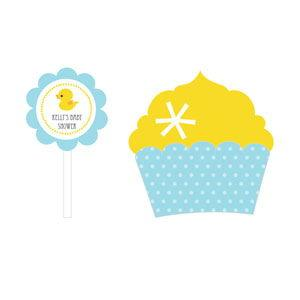 Rubber Ducky Cupcake Wrappers & Cupcake Toppers (Set of 24) image