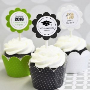 Graduation Cupcake Wrappers & Cupcake Toppers (Set of 24) image