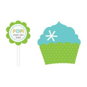 Going to Pop - Blue Cupcake Wrappers & Cupcake Toppers (Set  image