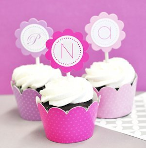 Monogram Cupcake Wrappers & Cupcake Toppers (Set of 24) image