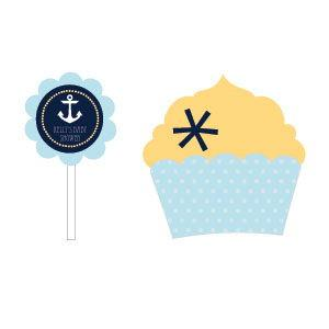 Nautical Baby Shower Cupcake Wrappers & Cupcake Toppers (Set image
