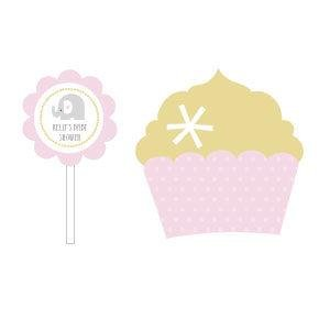 Pink Elephant Cupcake Wrappers & Cupcake Toppers (Set of 24) image