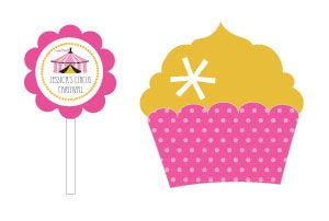 Pink Circus Party Cupcake Wrappers & Cupcake Toppers (Set of image