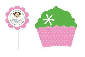 Pink Monkey Party Cupcake Wrappers & Cupcake Toppers (Set of image