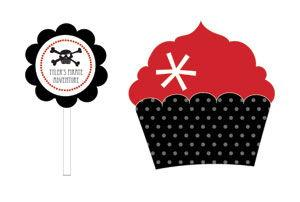 Pirate Party Cupcake Wrappers & Cupcake Toppers (Set of 24) image