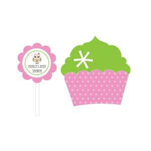 Pink Owl Cupcake Wrappers & Cupcake Toppers (Set of 24) image
