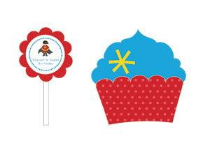 Super Hero Boy Birthday Cupcake Wrappers & Cupcake Toppers ( image