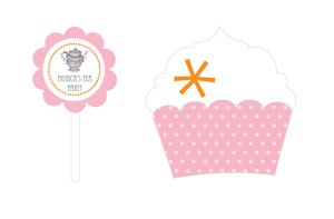 Tea Party Cupcake Wrappers & Toppers (Set of 24) image