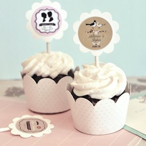 Vintage Wedding Cupcake Wrappers & Toppers (Set of 24) image