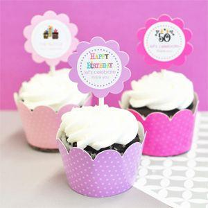 Personalized Birthday Cupcake Wrappers & Cupcake Toppers (Se image
